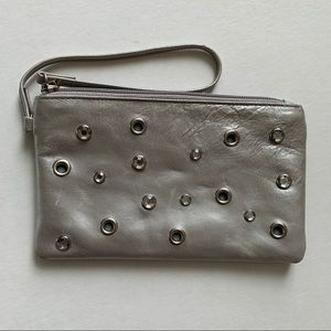 Hobo International Leather Silver Gem Wristlet